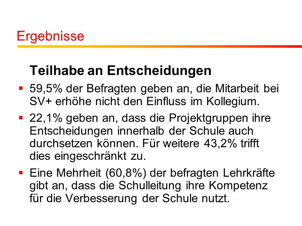 Ergebnisse Teilhabe an Entscheidungen  59,5% der Befragten geben an, die Mitarbeit bei SV+ erhöhe nicht den Einfluss im Kollegium.