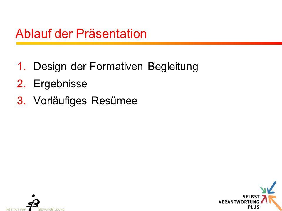 Ablauf der Präsentation 1.Design der Formativen Begleitung 2.Ergebnisse 3.Vorläufiges Resümee