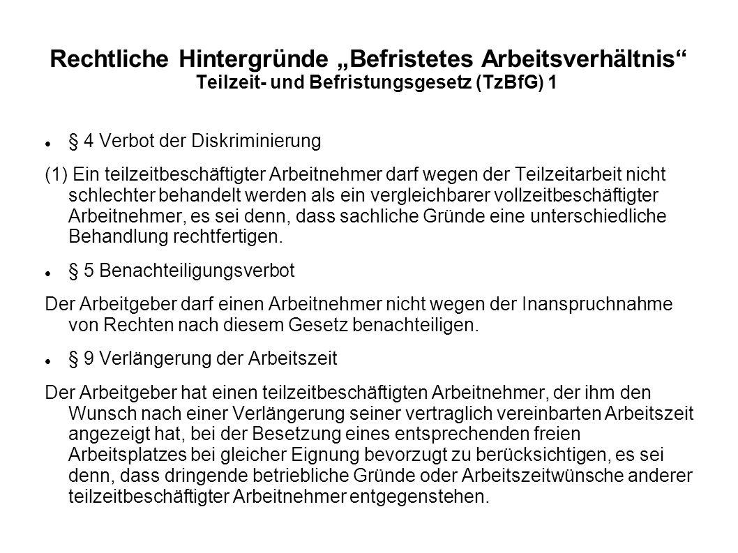 """Rechtliche Hintergründe """"Befristetes Arbeitsverhältnis"""" Teilzeit- und Befristungsgesetz (TzBfG) 1 § 4 Verbot der Diskriminierung (1) Ein teilzeitbesch"""