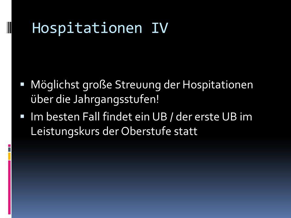 Hospitationen IV  Möglichst große Streuung der Hospitationen über die Jahrgangsstufen!  Im besten Fall findet ein UB / der erste UB im Leistungskurs