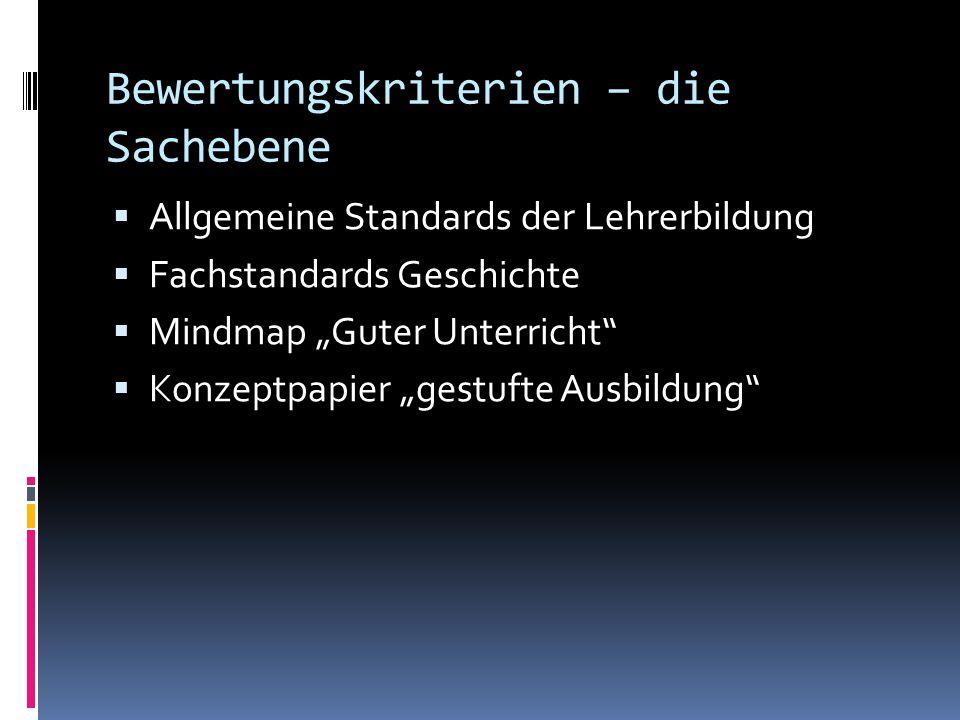 """Bewertungskriterien – die Sachebene  Allgemeine Standards der Lehrerbildung  Fachstandards Geschichte  Mindmap """"Guter Unterricht""""  Konzeptpapier """""""