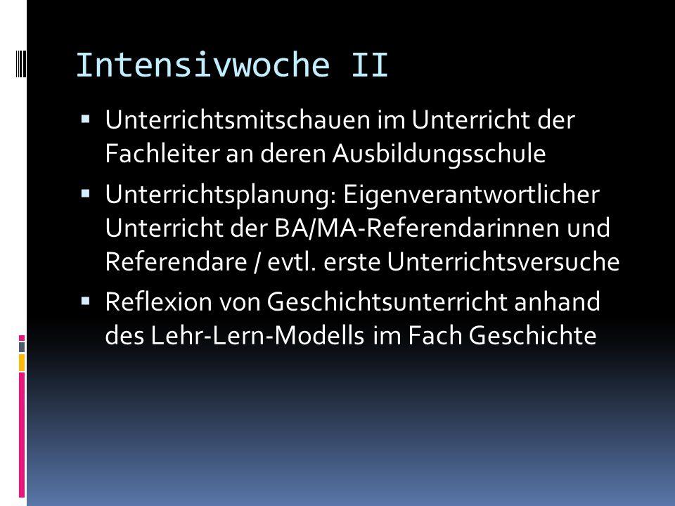 Intensivwoche II  Unterrichtsmitschauen im Unterricht der Fachleiter an deren Ausbildungsschule  Unterrichtsplanung: Eigenverantwortlicher Unterrich