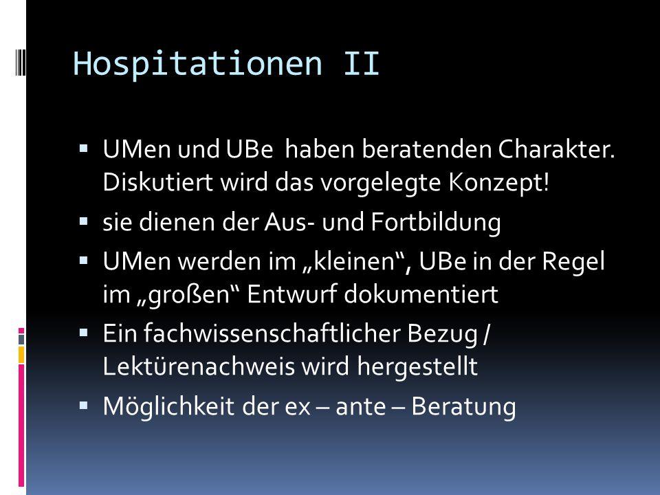 Hospitationen II  UMen und UBe haben beratenden Charakter. Diskutiert wird das vorgelegte Konzept!  sie dienen der Aus- und Fortbildung  UMen werde