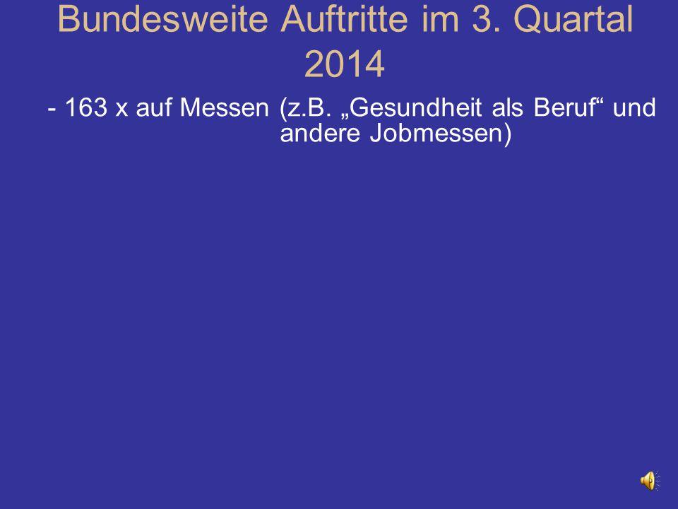 """- 163 x auf Messen (z.B. """"Gesundheit als Beruf"""" und andere Jobmessen) Bundesweite Auftritte im 3. Quartal 2014"""