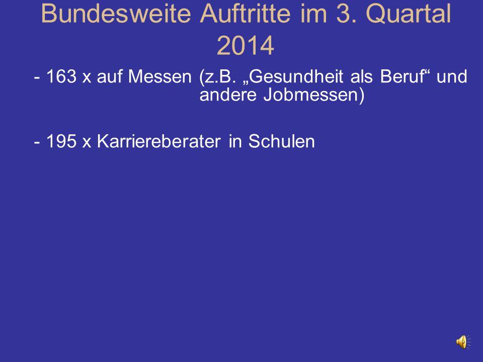 """- 163 x auf Messen (z.B. """"Gesundheit als Beruf"""" und andere Jobmessen) - 195 x Karriereberater in Schulen Bundesweite Auftritte im 3. Quartal 2014"""