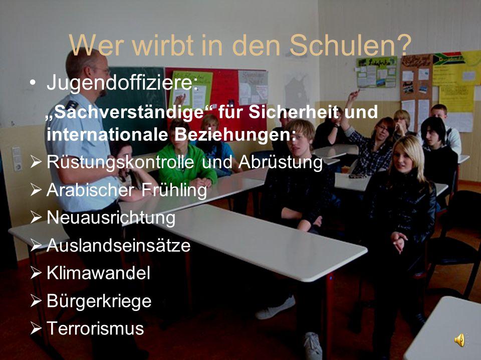 """Wer wirbt in den Schulen? Jugendoffiziere: """"Sachverständige"""" für Sicherheit und internationale Beziehungen:  Rüstungskontrolle und Abrüstung  Arabis"""