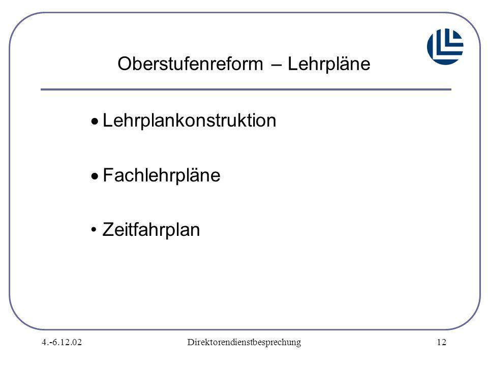 4.-6.12.02Direktorendienstbesprechung12 Oberstufenreform – Lehrpläne  Lehrplankonstruktion  Fachlehrpläne Zeitfahrplan