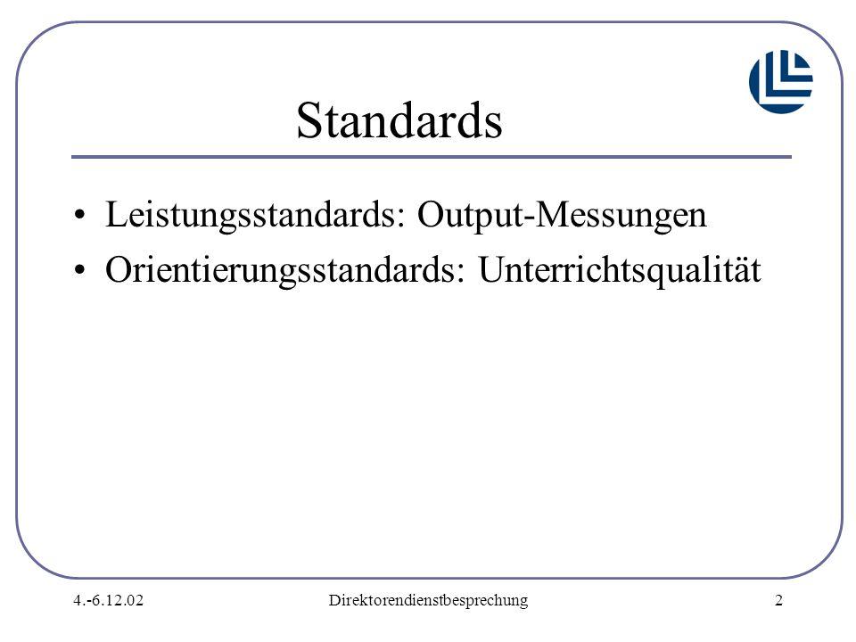 4.-6.12.02Direktorendienstbesprechung2 Standards Leistungsstandards: Output-Messungen Orientierungsstandards: Unterrichtsqualität