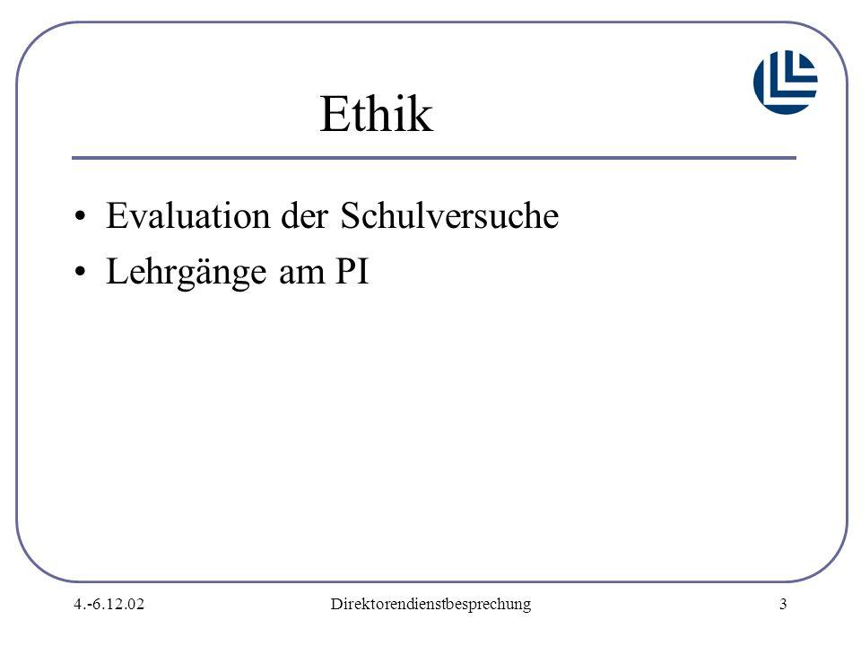 4.-6.12.02Direktorendienstbesprechung3 Ethik Evaluation der Schulversuche Lehrgänge am PI