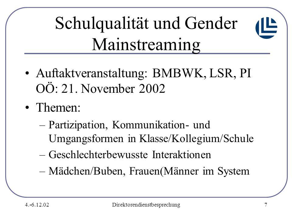 4.-6.12.02Direktorendienstbesprechung7 Schulqualität und Gender Mainstreaming Auftaktveranstaltung: BMBWK, LSR, PI OÖ: 21.