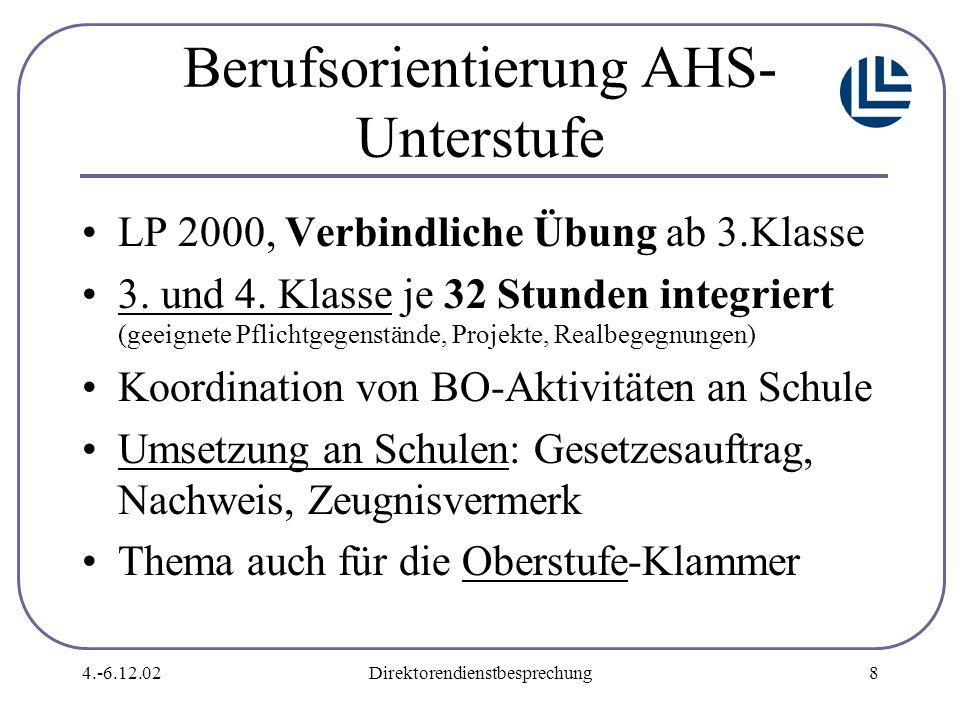 4.-6.12.02Direktorendienstbesprechung8 Berufsorientierung AHS- Unterstufe LP 2000, Verbindliche Übung ab 3.Klasse 3.