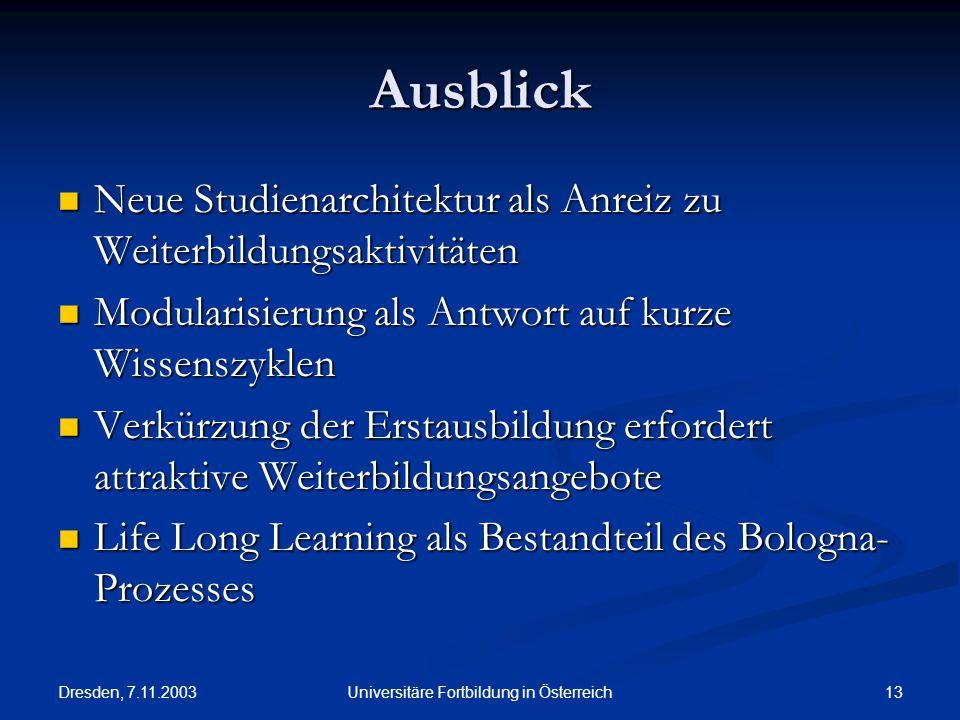 Dresden, 7.11.2003 13Universitäre Fortbildung in Österreich Ausblick Neue Studienarchitektur als Anreiz zu Weiterbildungsaktivitäten Neue Studienarchi
