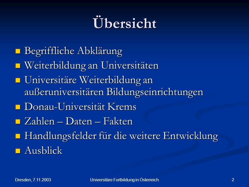Dresden, 7.11.2003 2Universitäre Fortbildung in Österreich Übersicht Begriffliche Abklärung Begriffliche Abklärung Weiterbildung an Universitäten Weit