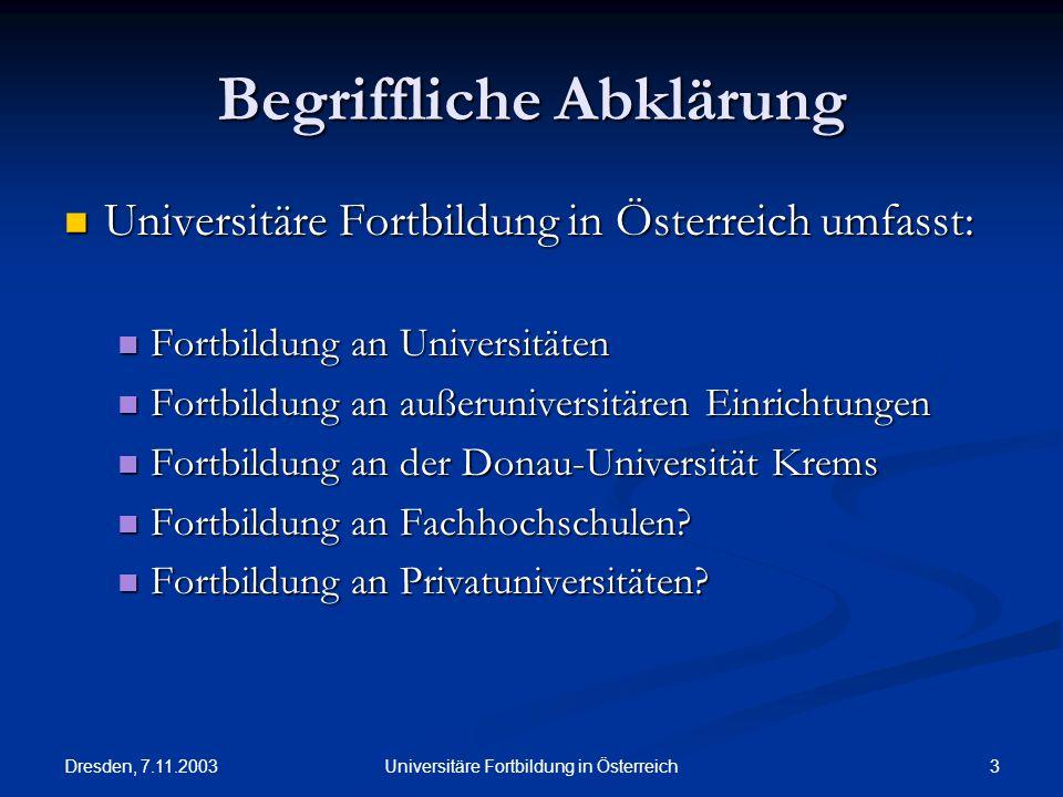 Dresden, 7.11.2003 3Universitäre Fortbildung in Österreich Begriffliche Abklärung Universitäre Fortbildung in Österreich umfasst: Universitäre Fortbil