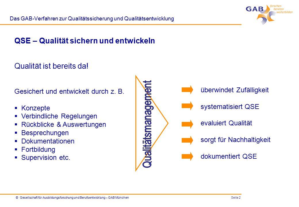 Seite 3© Gesellschaft für Ausbildungsforschung und Berufsentwicklung – GAB München Das GAB-Verfahren zur Qualitätssicherung und Qualitätsentwicklung 1.