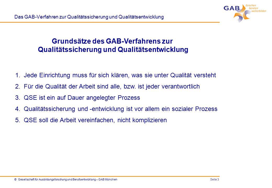 Seite 4© Gesellschaft für Ausbildungsforschung und Berufsentwicklung – GAB München Das GAB-Verfahren zur Qualitätssicherung und Qualitätsentwicklung Was wollen wir erreichen?Was haben wir erreicht.