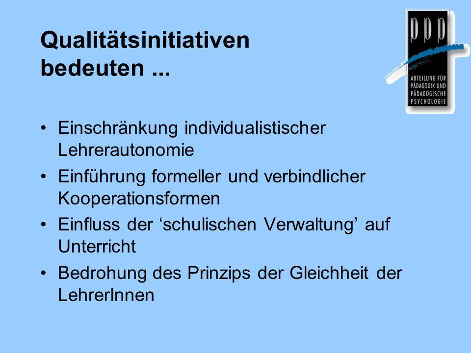 Qualitätsinitiativen bedeuten... Einschränkung individualistischer Lehrerautonomie Einführung formeller und verbindlicher Kooperationsformen Einfluss