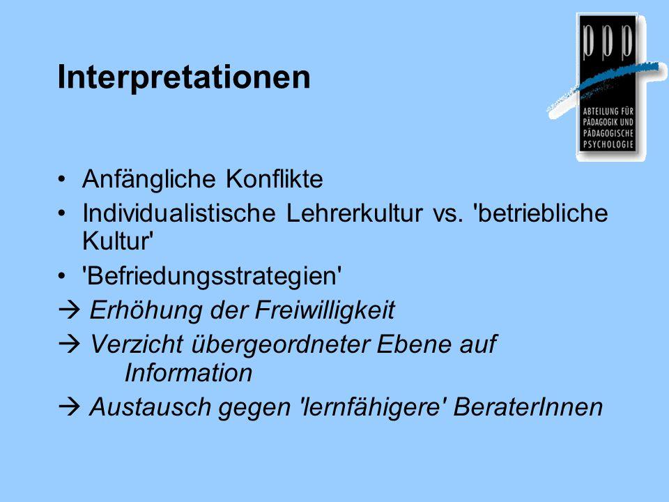 Interpretationen Anfängliche Konflikte Individualistische Lehrerkultur vs.
