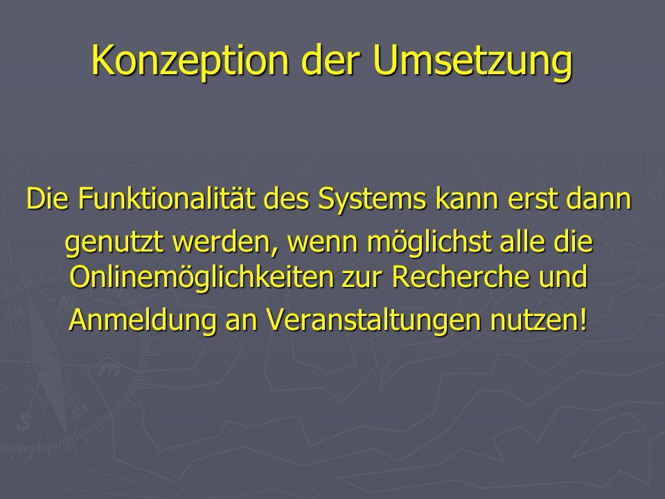 Konzeption der Umsetzung Die Funktionalität des Systems kann erst dann genutzt werden, wenn möglichst alle die Onlinemöglichkeiten zur Recherche und Anmeldung an Veranstaltungen nutzen!