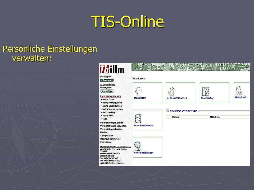 TIS-Online Persönliche Einstellungen verwalten: