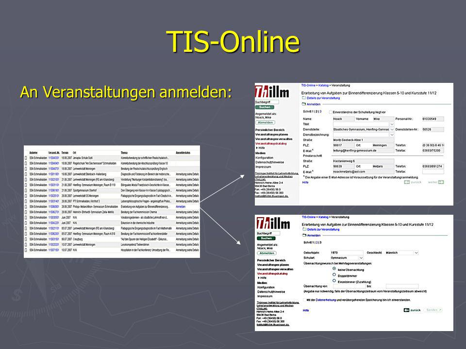 TIS-Online An Veranstaltungen anmelden: