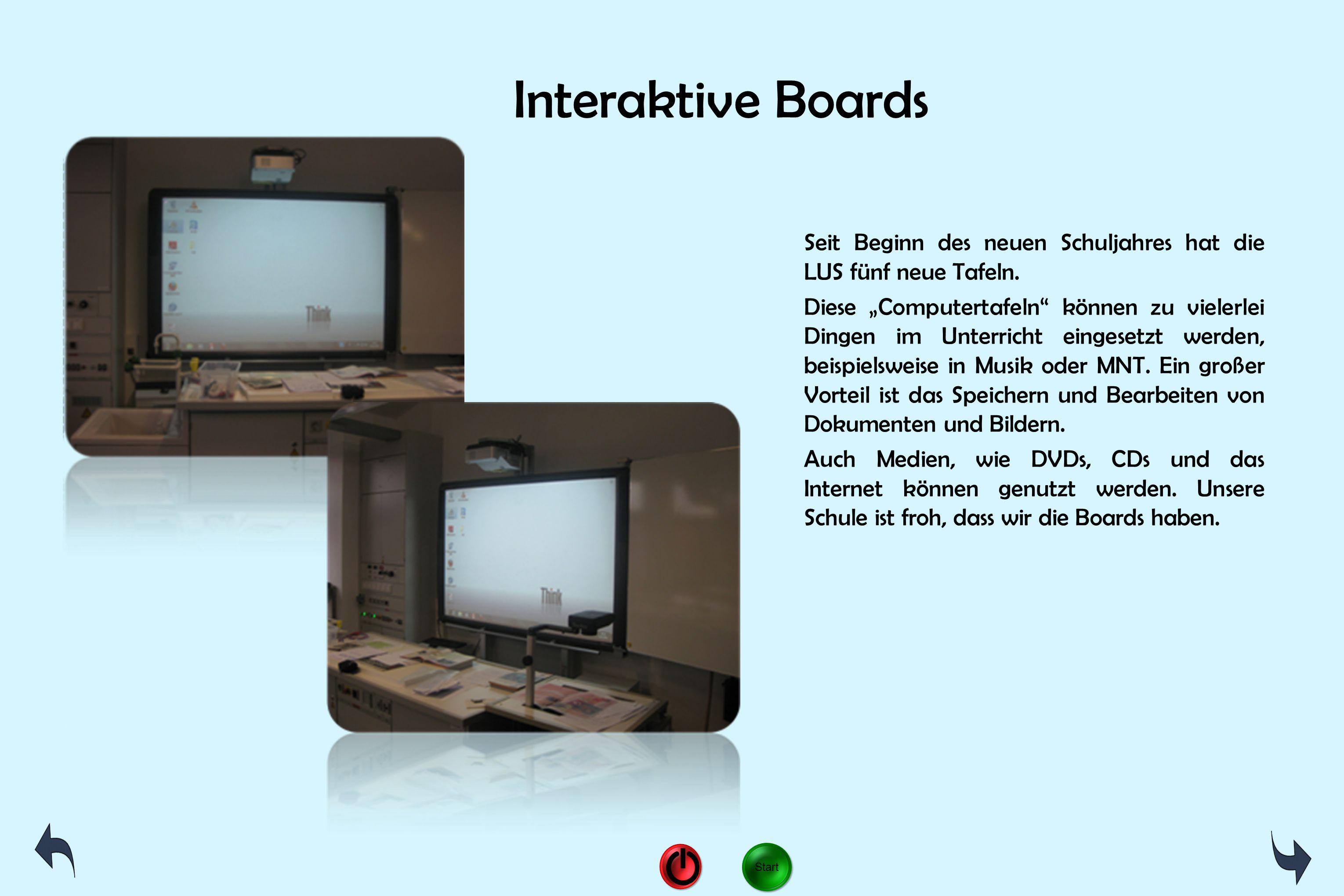 """Interaktive Boards Seit Beginn des neuen Schuljahres hat die LUS fünf neue Tafeln. Diese """"Computertafeln"""" können zu vielerlei Dingen im Unterricht ein"""