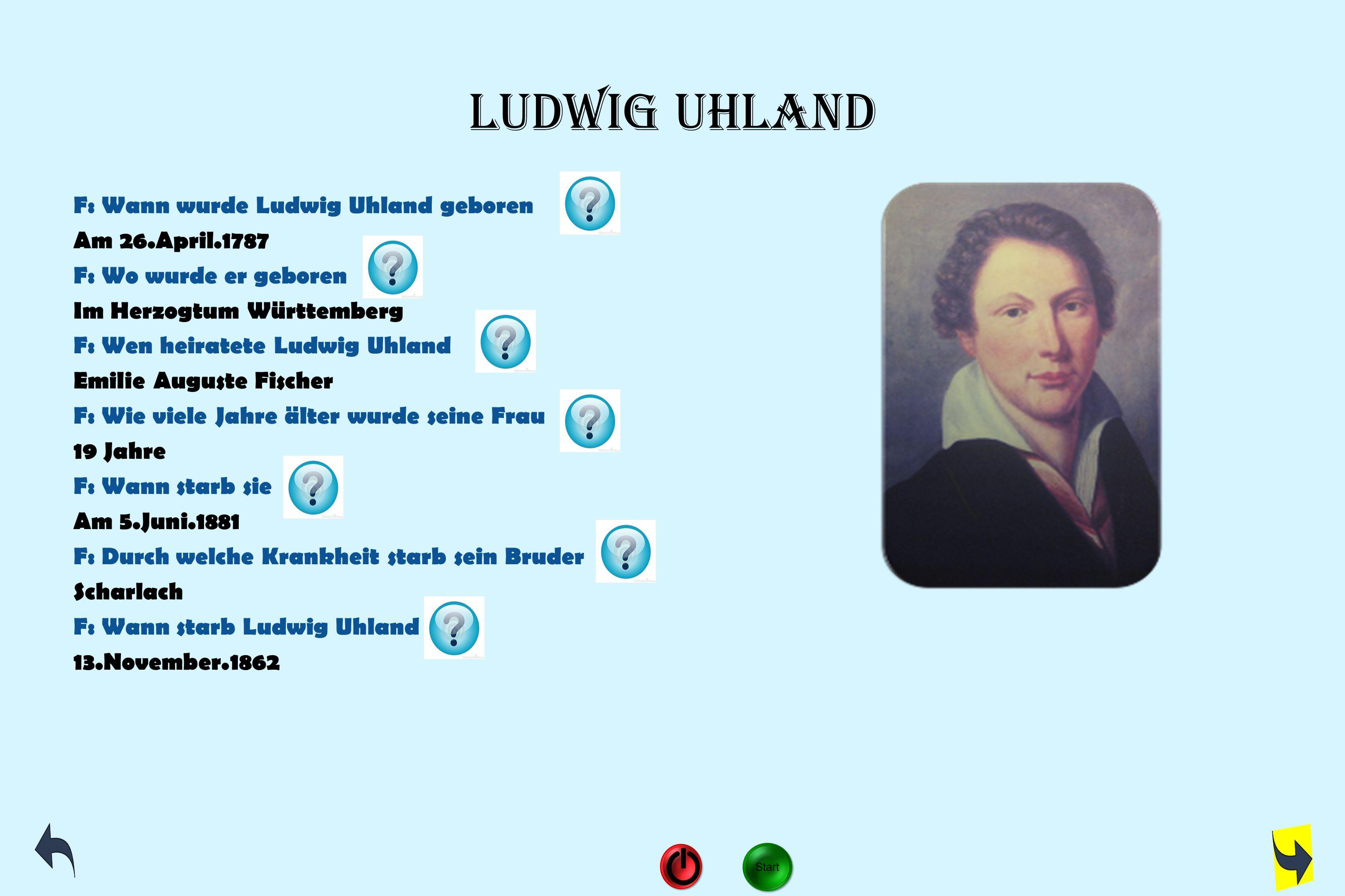 Ludwig Uhland F: Wann wurde Ludwig Uhland geboren Am 26.April.1787 F: Wo wurde er geboren Im Herzogtum Württemberg F: Wen heiratete Ludwig Uhland Emil