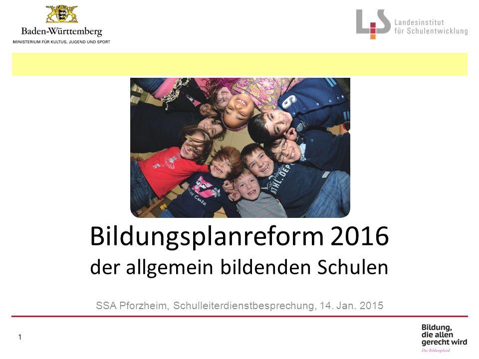 Bildungsplanreform 2016 der allgemein bildenden Schulen SSA Pforzheim, Schulleiterdienstbesprechung, 14. Jan. 2015 1