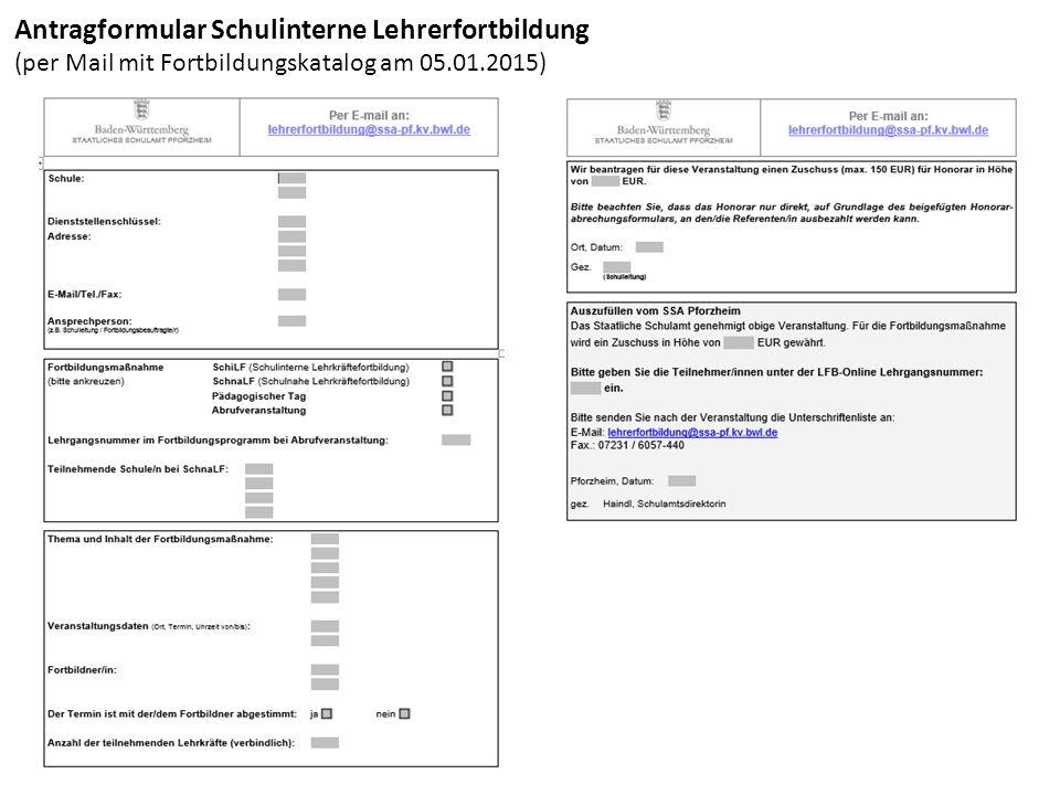 Abrufveranstaltung Baustein 2: GS / SEK I (per Mail mit Fortbildungskatalog am 05.01.2015)