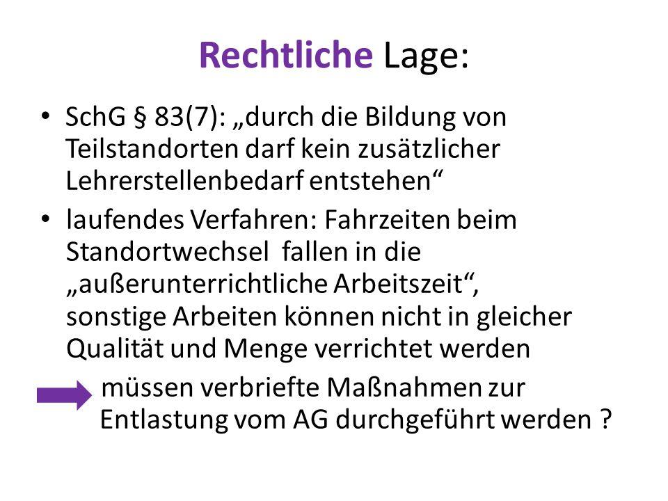 """Rechtliche Lage: SchG § 83(7): """"durch die Bildung von Teilstandorten darf kein zusätzlicher Lehrerstellenbedarf entstehen"""" laufendes Verfahren: Fahrze"""