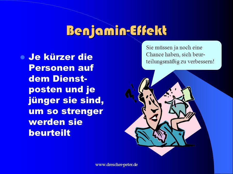 www.drescher-peter.de Benjamin-Effekt Je kürzer die Personen auf dem Dienst- posten und je jünger sie sind, um so strenger werden sie beurteilt Sie müssen ja noch eine Chance haben, sich beur- teilungsmäßig zu verbessern!