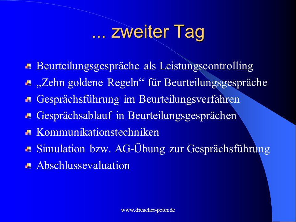 www.drescher-peter.de Konkretisieren von Selbst- und Fremdwahrnehmung Sichern und Hinterfragen beurteilungsrelevanter Informationen mittels...