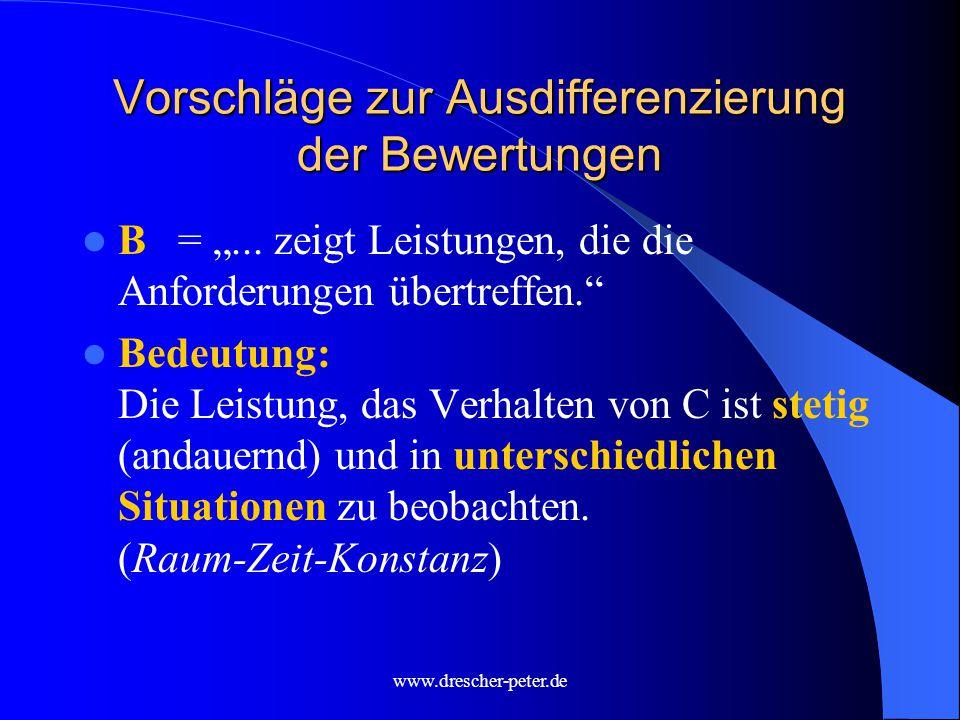 """www.drescher-peter.de Vorschläge zur Ausdifferenzierung der Bewertungen B= """"..."""