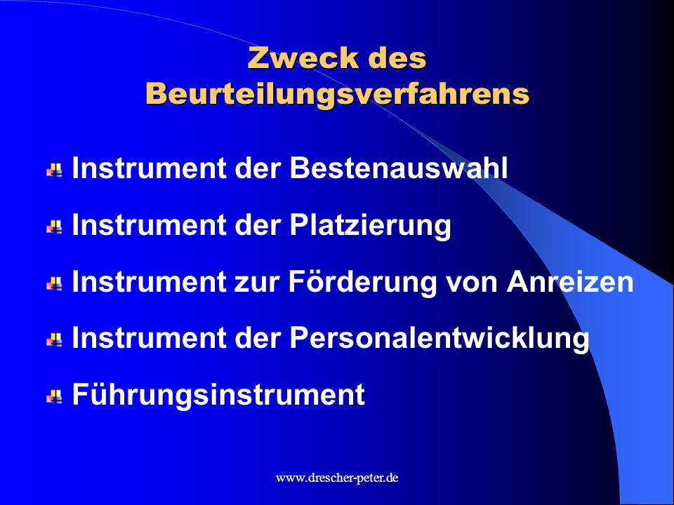 www.drescher-peter.de Zweck des Beurteilungsverfahrens Instrument der Bestenauswahl Instrument der Platzierung Instrument zur Förderung von Anreizen Instrument der Personalentwicklung Führungsinstrument