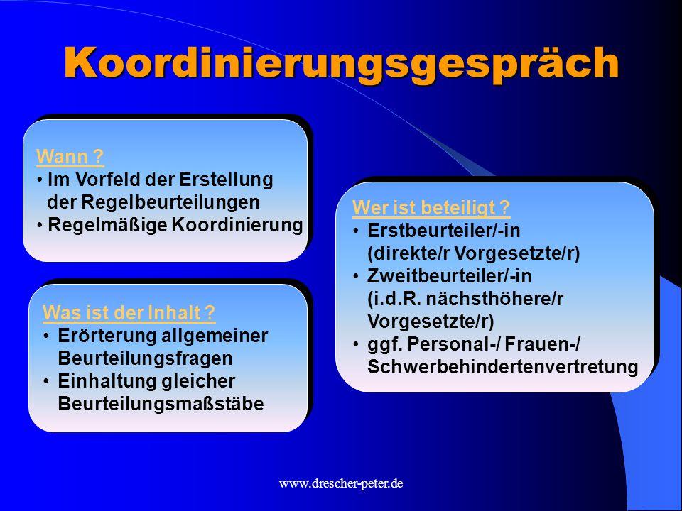 www.drescher-peter.de Nähe-Effekt Je näher der Kontakt zum/r Beurteilenden und je enger die Zusammenarbeit, um so besser fällt die Beurteilung aus