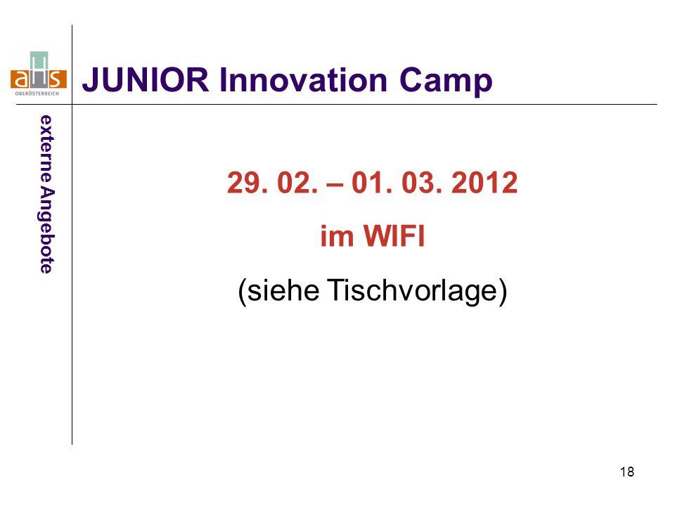 18 JUNIOR Innovation Camp externe Angebote 29. 02. – 01. 03. 2012 im WIFI (siehe Tischvorlage)