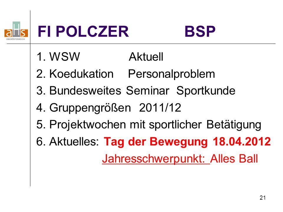 21 FI POLCZER BSP 1. WSW Aktuell 2. Koedukation Personalproblem 3. Bundesweites Seminar Sportkunde 4. Gruppengrößen 2011/12 5. Projektwochen mit sport