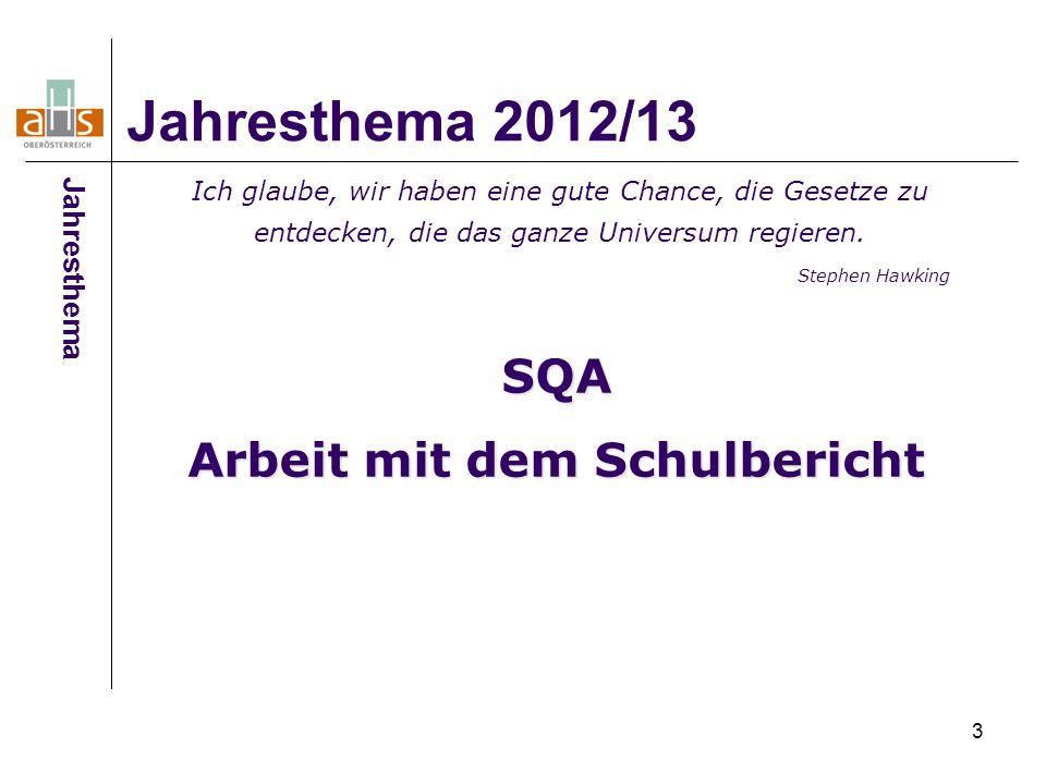 3 Jahresthema 2012/13 Jahresthema SQA Arbeit mit dem Schulbericht Ich glaube, wir haben eine gute Chance, die Gesetze zu entdecken, die das ganze Univ