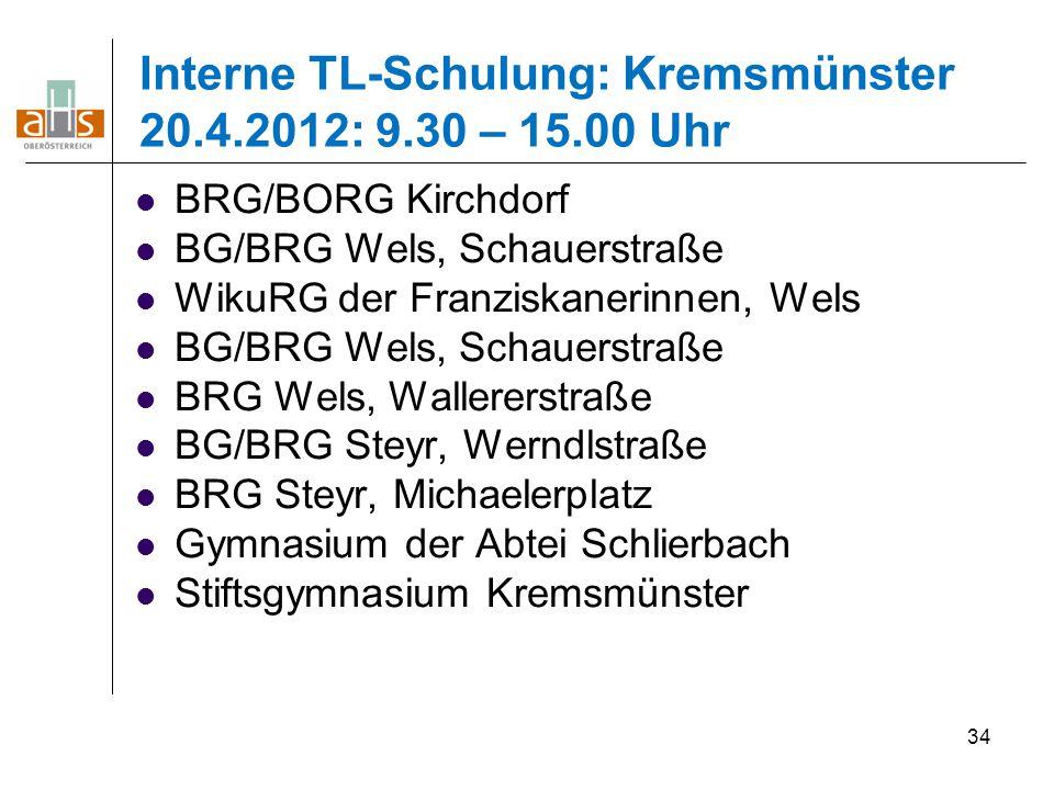 34 Interne TL-Schulung: Kremsmünster 20.4.2012: 9.30 – 15.00 Uhr BRG/BORG Kirchdorf BG/BRG Wels, Schauerstraße WikuRG der Franziskanerinnen, Wels BG/B