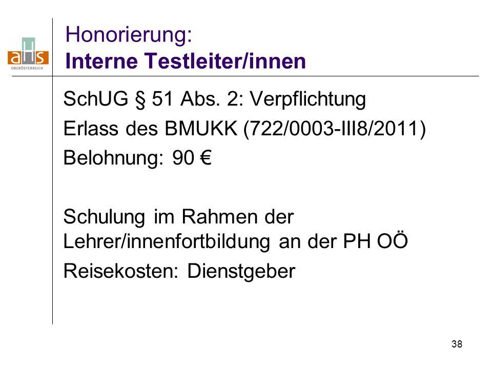38 Honorierung: Interne Testleiter/innen SchUG § 51 Abs. 2: Verpflichtung Erlass des BMUKK (722/0003-III8/2011) Belohnung: 90 € Schulung im Rahmen der