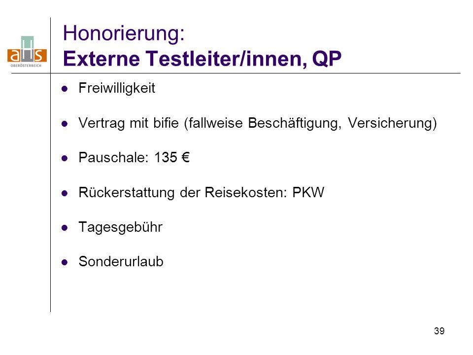 39 Honorierung: Externe Testleiter/innen, QP Freiwilligkeit Vertrag mit bifie (fallweise Beschäftigung, Versicherung) Pauschale: 135 € Rückerstattung