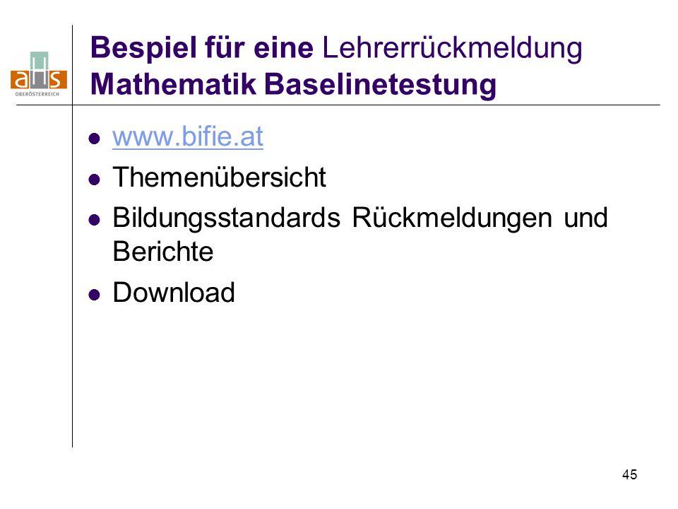 45 Bespiel für eine Lehrerrückmeldung Mathematik Baselinetestung www.bifie.at Themenübersicht Bildungsstandards Rückmeldungen und Berichte Download