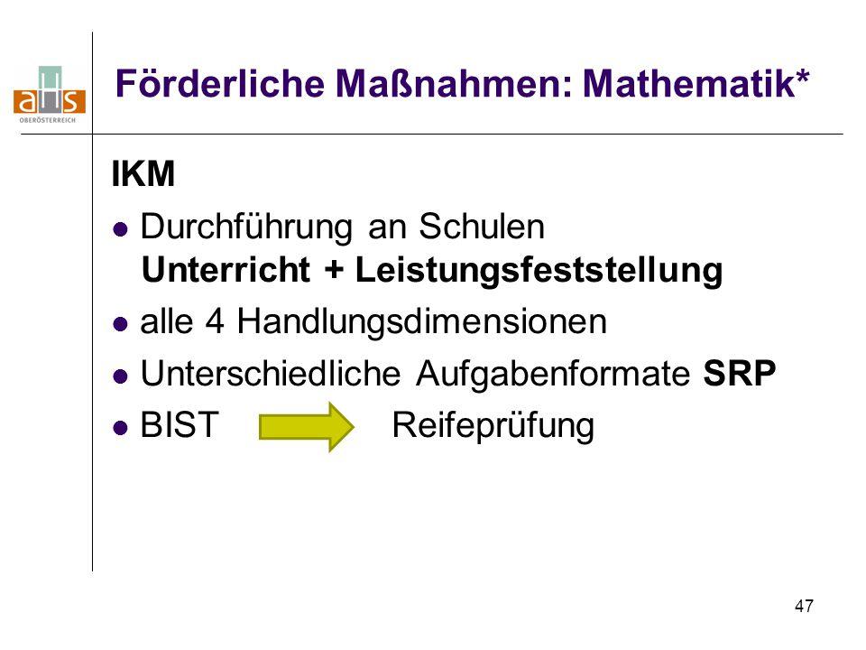 47 Förderliche Maßnahmen: Mathematik* IKM Durchführung an Schulen Unterricht + Leistungsfeststellung alle 4 Handlungsdimensionen Unterschiedliche Aufg