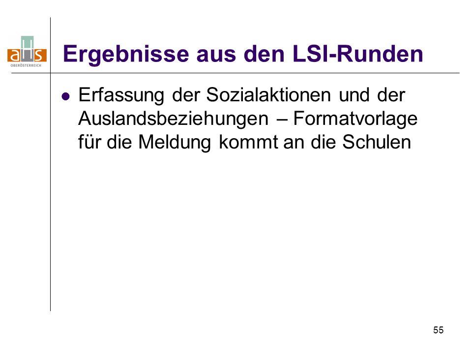 55 Ergebnisse aus den LSI-Runden Erfassung der Sozialaktionen und der Auslandsbeziehungen – Formatvorlage für die Meldung kommt an die Schulen