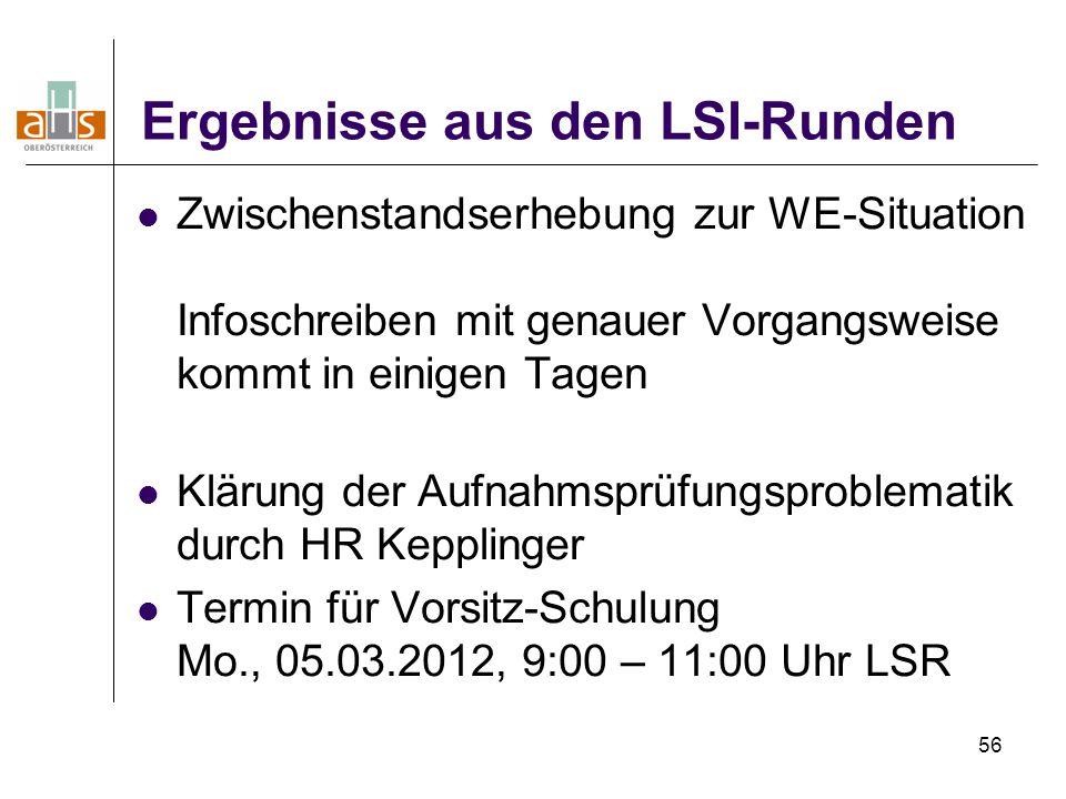 56 Ergebnisse aus den LSI-Runden Zwischenstandserhebung zur WE-Situation Infoschreiben mit genauer Vorgangsweise kommt in einigen Tagen Klärung der Au