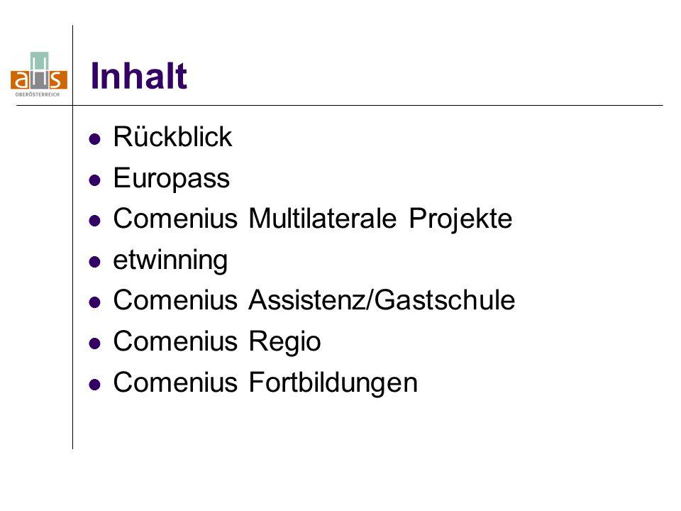 Inhalt Rückblick Europass Comenius Multilaterale Projekte etwinning Comenius Assistenz/Gastschule Comenius Regio Comenius Fortbildungen