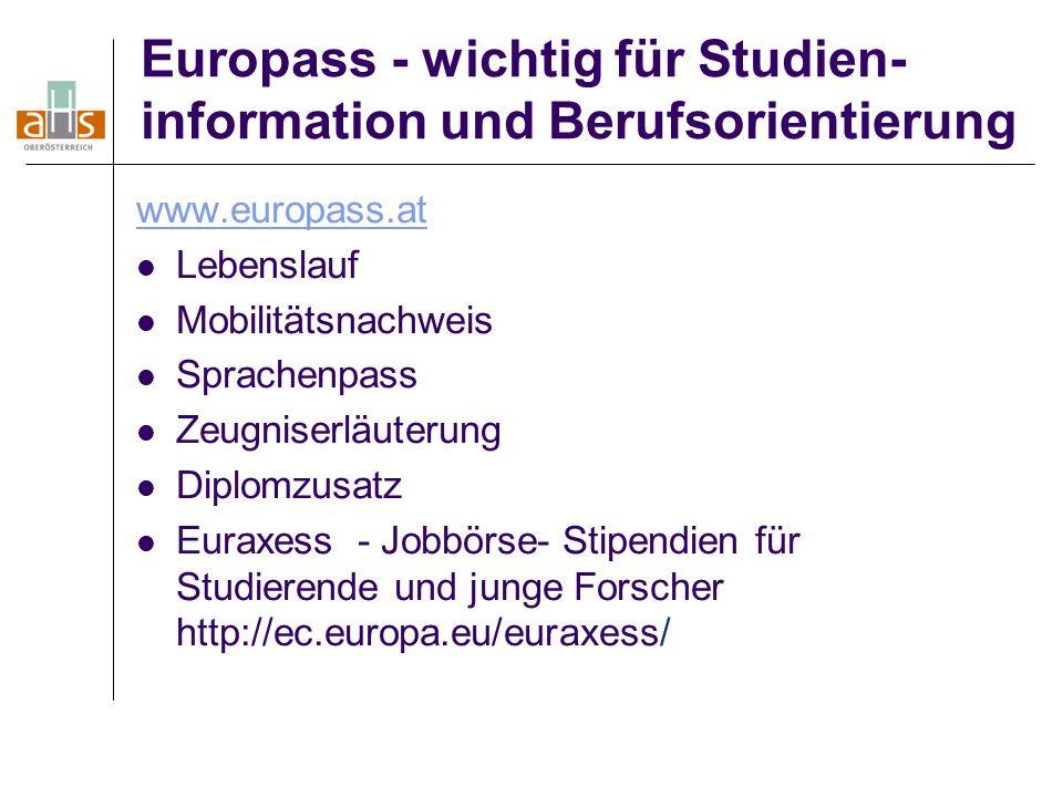 Europass - wichtig für Studien- information und Berufsorientierung www.europass.at Lebenslauf Mobilitätsnachweis Sprachenpass Zeugniserläuterung Diplo