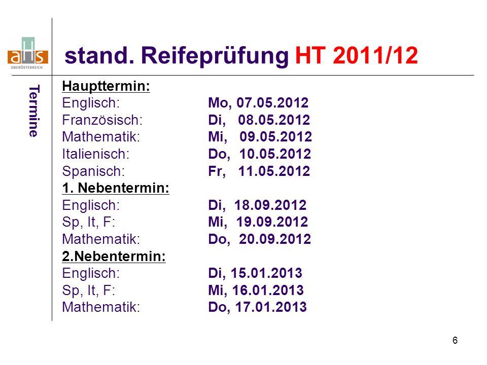 17 Medizintest für Maturaklassen Termine Donnerstag, 24.