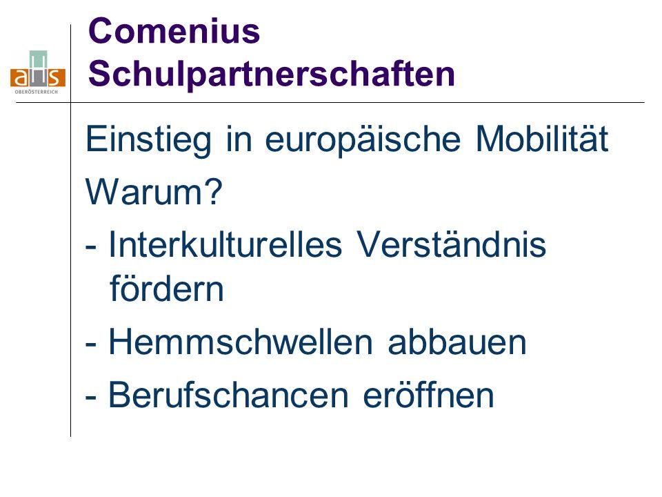 Comenius Schulpartnerschaften Einstieg in europäische Mobilität Warum? - Interkulturelles Verständnis fördern - Hemmschwellen abbauen - Berufschancen
