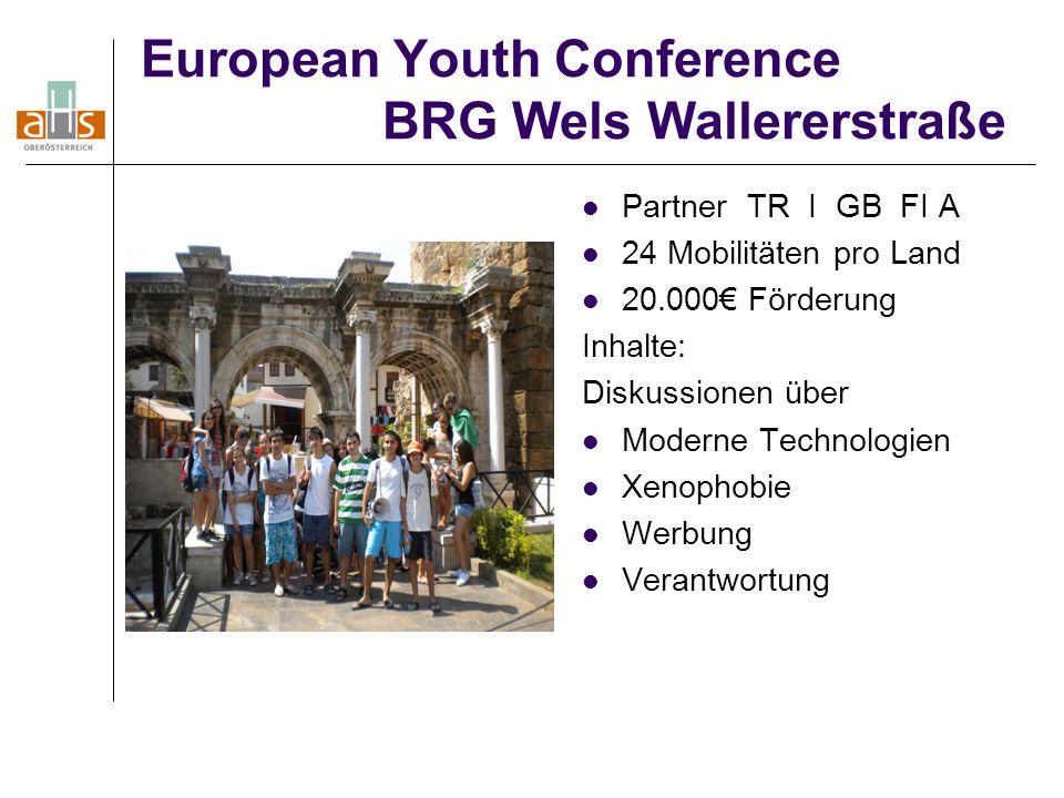 European Youth Conference BRG Wels Wallererstraße Partner TR I GB FI A 24 Mobilitäten pro Land 20.000€ Förderung Inhalte: Diskussionen über Moderne Te